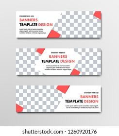 Design of horizontal white web banners with diagonal elements and orange squares. Templates with place for photo. Set