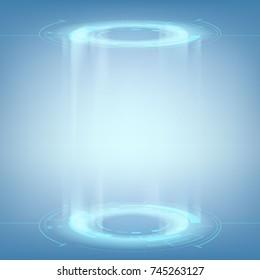Design of HUD menu user interface. Futuristic portal for teleportation. Stock vector illustration.