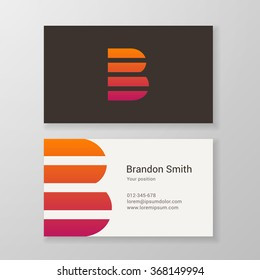 Design icon letter B stripes business card template. Layered, editable.