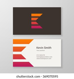 Design icon letter K stripes business card template. Layered, editable.