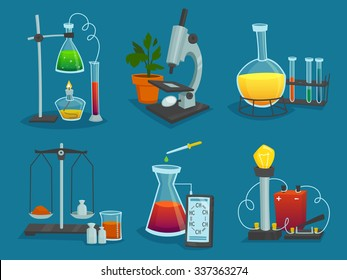 Design  icons set of laboratory equipment for science experiments  vector illustration