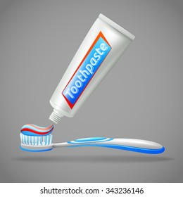 Design icons set with tube of  toothpaste and toothbrush isolated vector illustration