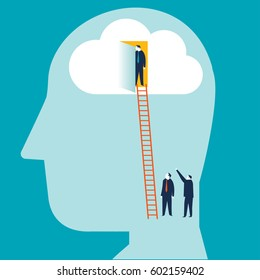 Design illustration concept of brain searching. Businessman entering the brain.