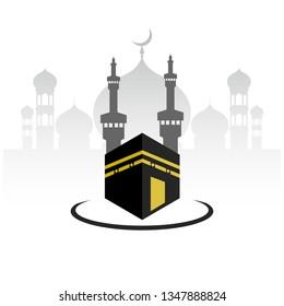 Design illustration of the Makkah logo Hajj Umrah mosque - Vector