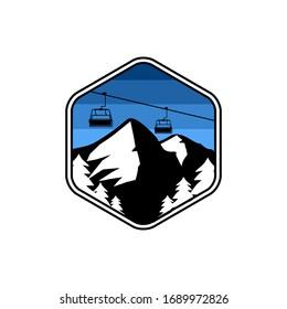 Design illustration mountain and ski lift premium vector