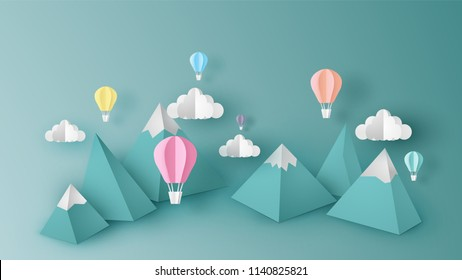 Design illustration of mountain view scene with hot air balloons float up in the sky on 3D paper art style. Hot air balloon float up in the sky. pastel paper cut and craft style. vector, illustration.