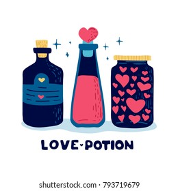 Design illustration with set cute battle love potion and flask of love drink.  Decoration for menu or postcard and poster for happy valentine's day. Vector