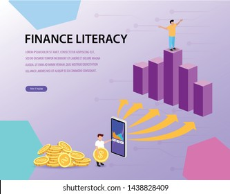 design illustrations about financial literacy with cartoons can be used for business, financial, management, website, application, layout background