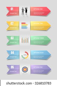Design Infographic 5 steps template for  business concept