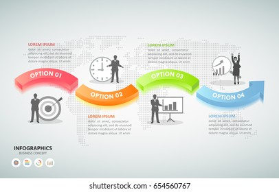 Design infographic template 4 options. Business concept can be used for workflow layout, diagram, number options, timeline, steps, demo infographic