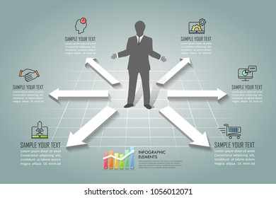 Design infographic template 6 options. Business concept can be used for workflow layout, diagram, number options, timeline, steps, demo infographict