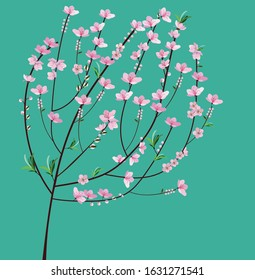 Design inspired peach blossom grows in northern Vietnam. This flower only blooms on Tet holiday in the Southeast Asian Nation. Good for postcard, cover book, envelope, etc.