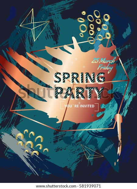 Design invitations in style 80s, 90s. Color background texture painted with a brush. Collage with geometric shapes and hand drawn spots. Memphis style. Bronze and copper. Vector. Poster spring party.