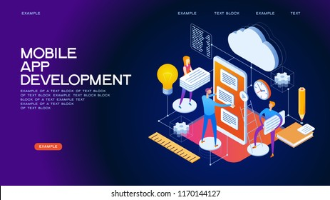 Design isometric concept of App Development. 3d isometric vector illustration.