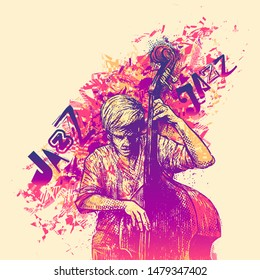 Design Jazz for poster with jazzman playing double bass. vector illustration.