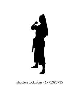 The design of karate women in shadow vectors