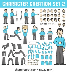 Design kit for creating a character in various poses. Isolated parts of the body and face. A man stands, shows, runs, eats, sits with a laptop and more.