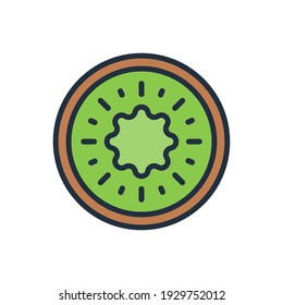 The design of the kiwi fruit and vegetables flat icon vector illustration, this vector is suitable for icons, logos, illustrations, stickers, books, covers, etc.