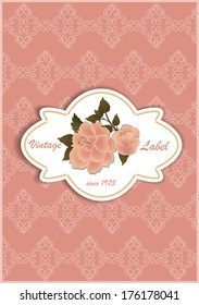 Design labels with roses on a patterned background