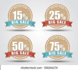 Design of labels, tags, banners for sale in retro style with an indication of the discount percentage . Vector illustration. Set.
