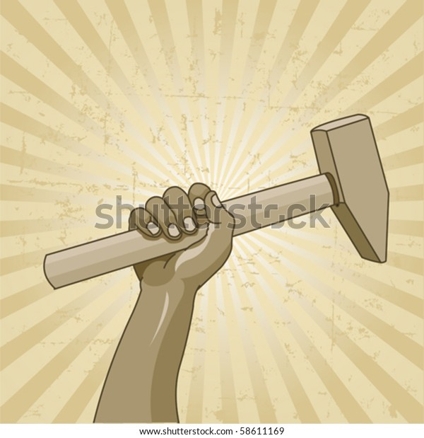 Design for Labor Day with worker?s hand holding a hammer
