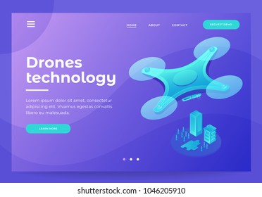 Design for Landing Page with image quadcopter. Drone flying over city. Modern technologies for delivery, entertainments, photo and video shooting. 3d isometric flat design. Vector illustration.