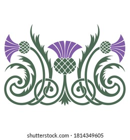 Design of leaves and flowers of the Thistle in Celtic style, isolated on white, vector illustration