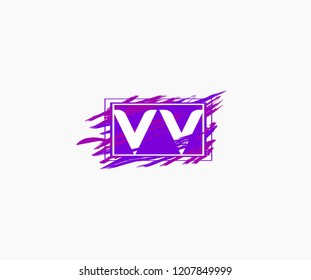 Design Letter VV Abstract Trendy Grunge Square Watercolor Logo
