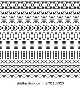Design line horizontal elements black. Vector set of monochrome borders for your design. Borders illustrations in style color black. Border decoration elements pattern. Vector.
