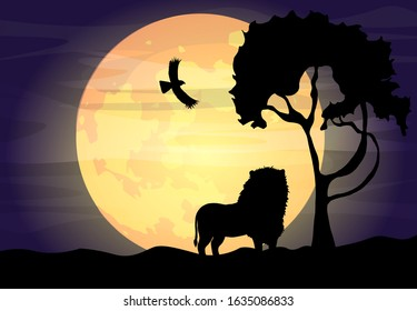 Design lion silhouette on night background, animal wildlife silhouette paper art style. Lion with a tree on a background of the big moon.Can be used for travel or safari banner, poster design, desktop