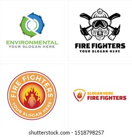 Design logo with arrow circle gear ax mask fire man circle vector suitable for environment recycling volunteers foundations firefighter