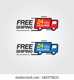 Design logo badge Free delivery service. Free shipping order icon vector