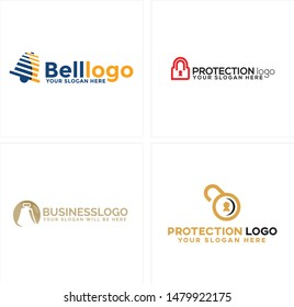 Design logo with bell and padlock icon for business consulting protection company