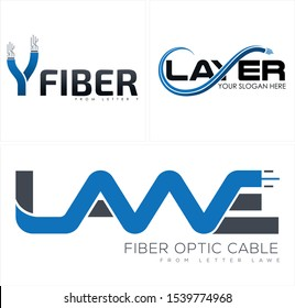 Design logo with cable fiber optic initial Y swoosh blue black vector suitable for technology business provider company
