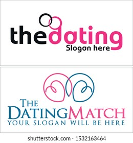 Design logo with circle heart blue pink black vector line art suitable for dating software searching matchmaking service