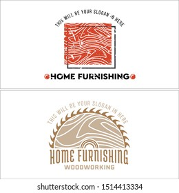 Design logo with circular saw wood and square vector suitable for home furnishings carpenters workers timber sales