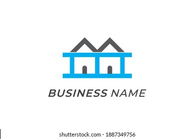 design logo combination stairs and roof