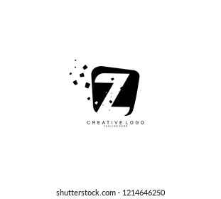 Design Logo Creative Z Letter Modern Abstract Shape Dots Black Monogram