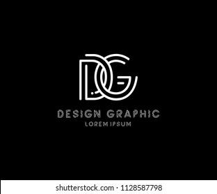 Design Logo DG Letter Monogram Modern Line Shape