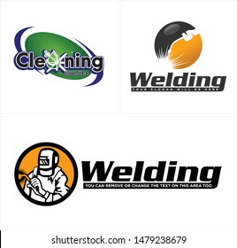 Design logo with drop water bubble soap cleaning and welder vector design suitable for industrial repair welding cleanser business