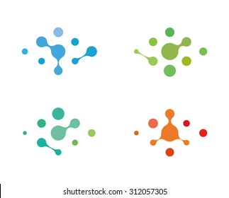 Design logo element. Abstract water molecule vector template set. Computer science and engineering concept icons.