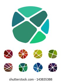 Design logo element. Crushing abstract round rectangle pattern. Colorful precious stone icons set.