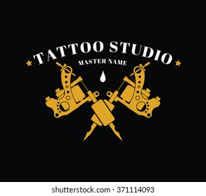 Design of a logo with gold tattoos machines on a black background for a tattoo of salon, studio or the artist. Vector illustration.