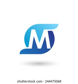 Design logo icon template with letter M. Vector illustration.