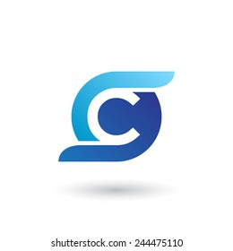 Design logo icon template with letter C. Vector illustration.