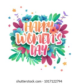 Design logo to the International Happy Women's Day with flower decoration. Signs, badges, symbol for 8 March on floral frame. The text for the greeting card,  sale poster, offer web banner. Vector