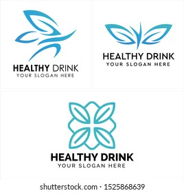 Design logo with leaf square butterfly blue line art vector suitable for beverage health stamina sports running arts