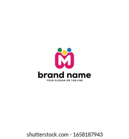design logo letter m and people vector template