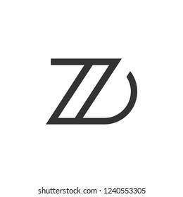 Design Logo Linked ZD Letter Monogram Modern Minimalist