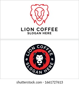 Design logo with outline head lion red and emblem bean coffee vector suitable for animal food drink restaurant shop label
